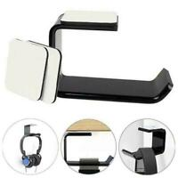 Headphone Stand Hanger Hook Tape Under Desk Dual Headset Black Holder Mount H0B3