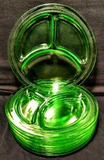 """Smith Glass HOMESTEAD Green 9"""" Grill Plate ~ Set of 8"""