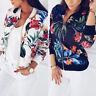 Fashion Womens Autumn Retro Sport Zipper Up Bomber Jacket Casual Coat Outwear