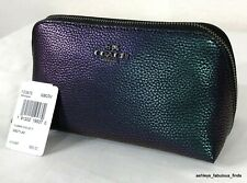 Coach Hologram Cosmetic Case 17 Pebbled Leather Blue Purple RARE New With Tags