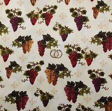 BonEful Fabric FQ Cotton Quilt Cream Fleur De Lis Vineyard Purple Grape Blender