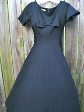True Vintage Julie Clark 60s Black Piquet Twirl Dress Empire Waist EVC Small