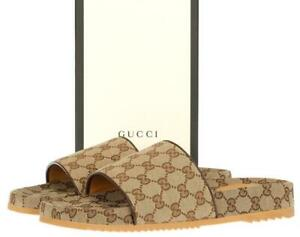 NEW GUCCI BEIGE GG CANVAS LEATHER SLIDES SANDALS SHOES 7 G/US 7.5