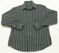 Dress Shirt Medium Cotton John Henry Long Sleeve Mans Striped Black White Gray
