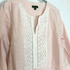 Womens Caftan Shirt Dress Boho Orange Striped 3/4 Sleeves Size 16