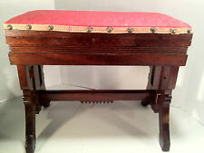 Antique Victorian Oak Sewing Stool w/ Hinged Lid - Cushioned Red Top