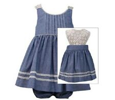Bonnie Jean Girls Blue Chambray Bodice Lace Back Spring Summer Dress 2T New