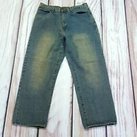 Mens Vintage Eddie Domani Gold Label Wide Leg Relaxed Faded Jeans W34 L28