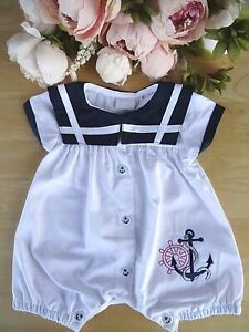 Nautical Style 100% Cotton Traditional Embroidered Baby Boy Romper 0-3-6-9m