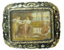 Antique 14K Gold Miniature Hand Painted Painting Enamel Victorian Estate Brooch