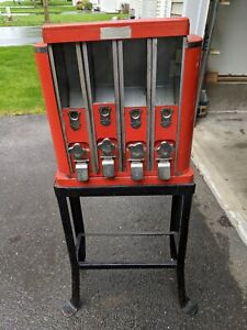 Antique 1¢ Four-Compartment Gumball Candy Vending Machine AM Co.
