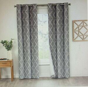 Eclipse Leland Ogee Grommet Window Curtain Panels 2Pk Gray 80 x 95 New