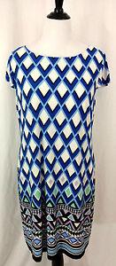 Jessica Howard Dress Womens Sz XL Blue Black White Chevron Straight Sheath