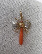 Art Nouveau Coral Diamond Ruby Dragonfly Pendant Insect c1900 Belle Epoque Rare