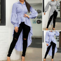 ZANZEA Women Lantern Sleeve Shirt Tops Stripe High Low Asymmetrical Tunic Blouse