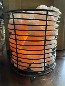 "Natural Himalayan Salt Lamp Round Black Metal Lighted Basket W/Dimmer 6""x 5.5"""