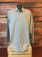 Banana Republic Mens XL Long Sleeve Button-Front Blue Green Striped Shirt