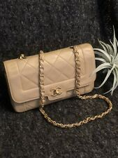 AUTH CHANEL Quilted CC Single Flap Bag Lambskin Vintage Beige GHW Auth Card