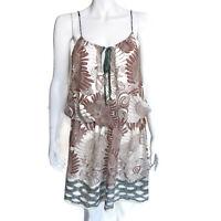 JOIE Floral Cotton Silk Sheer Sleeveless Elastic Waist Sun Dress size XS /1176