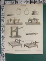 1809 Datato Antico Stampa ~ Mense ~ Vite Cerchio Cesoie Turning The Suoneria