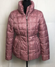 Simply Styled Women's Hooded Puffer Jacket, Pink Blush Herringbone Size S