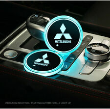 New For Mitsubishi Car Cup Bottle Holder Pad Mat Auto Atmosphere LED Lights Deco