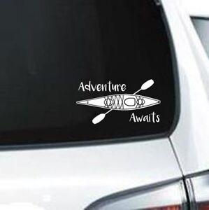 H169 Adventure Awaits Kayak River Lake Kayaking vinyl decal car sticker