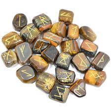 Natural Tumble Rune Tiger Eye Set 25 Pcs Reiki Chakra Healing Gemstone