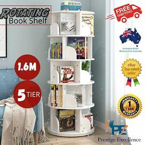 5-Tier Rotating Display Book Shelf Storage Book Rack Bookshelf Shelves Bookcase