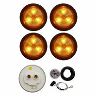 """4 PACK of CLEAR/AMBER LED 2"""" ROUND CLEARANCE/MARKER LIGHTS TRAILER RV FREE SHIP"""