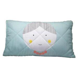 Jack & Jill Organic Cotton Quilted Pillow Cover  - Blue (Jill) - NEW