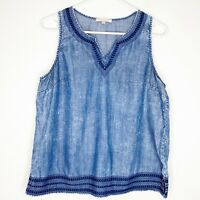 Skies Are Blue Women's Kimmie Tencel Blouse Chambray Shirt Sleeveless Top Large