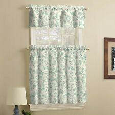Teal/Ivory Kitchen Curtain and Valance Set, Leaf, 3 Piece,faux linen