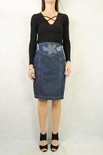 VINTAGE 80s Dark Blue Denim High Waist Skirt Size S 10AU