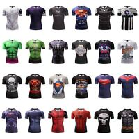 GYM Men 3D Print T-shirt Superhero Superman Marvel Panther Fitness Cycling Tops