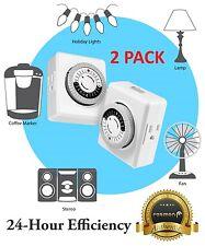 2x Universal Wall Mechanical Dual 2 Outlet Timer Plug 15 Amp 24 Hour Program