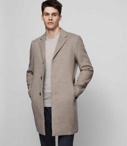 Mens Reiss Gable Bluff Epsom Long Oatmeal Coat Jacket, Size Large NEW - RRP £325