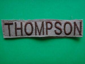Desert Tan US Army Name Tape THOMPSON Pocket Patch