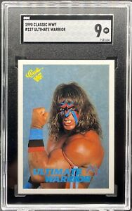 1990 CLASSIC WWF #127 ULTIMATE WARRIOR ROOKIE RC SGC 9