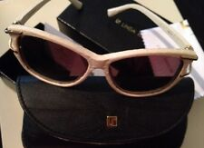 LINDA FARROW LUXE Wrap Leather Snakeskin Gold Ivory Sunglasses $730 RARE!