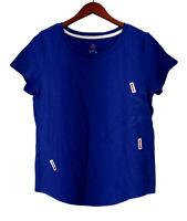 Isaac Mizrahi Live! Top Sz L Essentials Curved Hem Scoop Neck Blue A260928