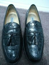 Johnston & Murphy Black Crocodile/Alligator Tassel Loafers Made in Italy 8 1/2 M