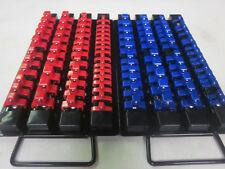 "98pc RED BLUE CLIPS 10-5/8""L SOCKET TRAY HOLDER ORGANIZER 1/4"" 3/8"" 1/2"" RAIL"