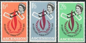 Ascension 1968 QEII Human Rights Year set of 3 mint stamps  LMM