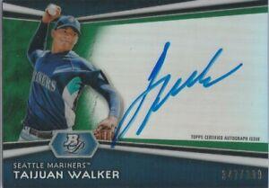 2012 Bowman Platinum TAIJUAN WALKER Green Auto #/399!!! Mets