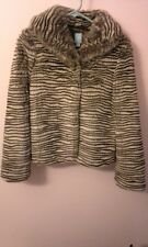 """NWT COOP Barneys New York striped cream and brown Faux """"Fur""""  Jacket (size xs)"""