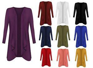 Women' Ladies Open Waterfall Cardigan Hanky Hem Jersey Plus Size Long Sleeve Top