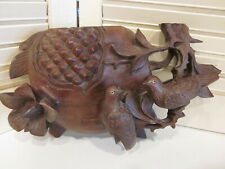 Antique Wall Pocket Black Forest Wood Carving Birds Flowers
