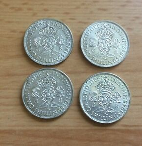 4 X George VI Florins, 1942, 1943, 1944 And 1945, EXCELLENT condition