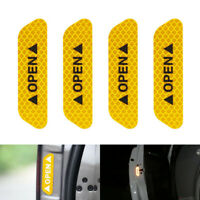4Pcs Universal Car Door Open Sticker Reflective Tape Safety Warning Decal Orange